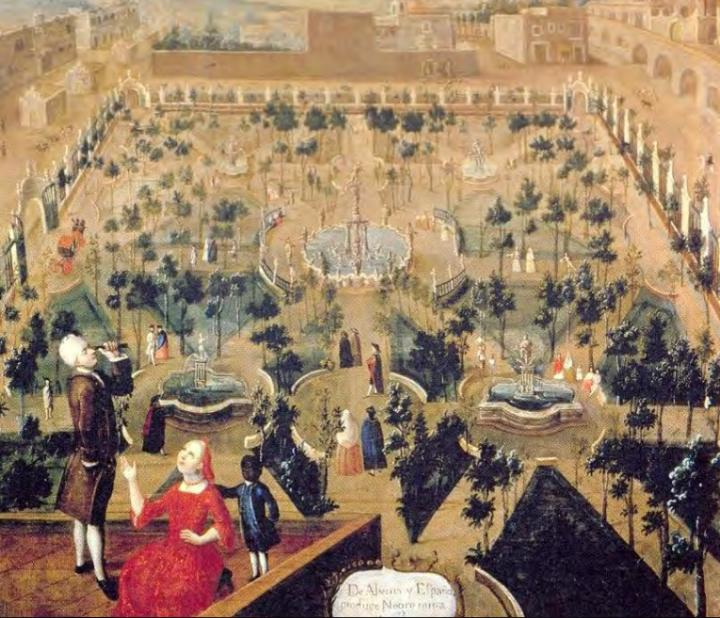 This is a painting of the Convent of Santa Isabel, in Mexico City, painted in the 18th century (author unknown). The building is now home to the Palace of Fine Arts. In the foreground of the painting, a family is pictured on the roof of the convent. [Velázquez A. 2004. La colección de pintura del Banco Nacional de México. Catálogo, Siglo XIX, México, Fomento Cultural Banamex, 2 V.]