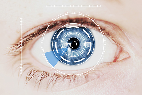 Security Retina Scanner on Intense Blue Human Eye