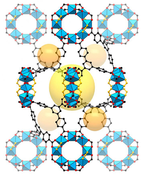 """This illustration shows the structure of a metal-organic framework, or MOF. The structure possesses a """"handedness,"""" known as chirality, that enables researchers to identify the same kind of handedness in molecules that bind within it. [S. Lee, E. Kapustin, O. Yaghi/Berkeley Lab and UC Berkeley]"""