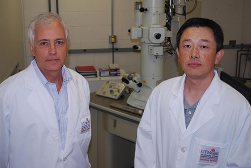 University of Texas Health's John Hancock, M.B., B.Chir, Ph.D., ScD, (left) and Yong Zhou, Ph.D., (right) are studying what causes cancer at the molecular level. [The University of Texas Health Science Center at Houston]