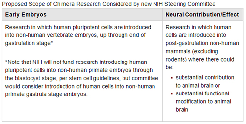 Proposed Scope of Chimera Research Considered by new NIH Steering Committee [NIH]