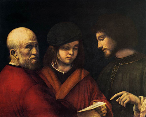 A recurring theme in art, the three ages, features in a new study of age-related changes in gene expression. The study identified a set of highly conserved genes that could, when suppressed, improve health and extend lifespans. [The Three Ages of Man, by Giorgione, is a work in the public domain that appears in the Web Gallery of Art and Wikipedia]