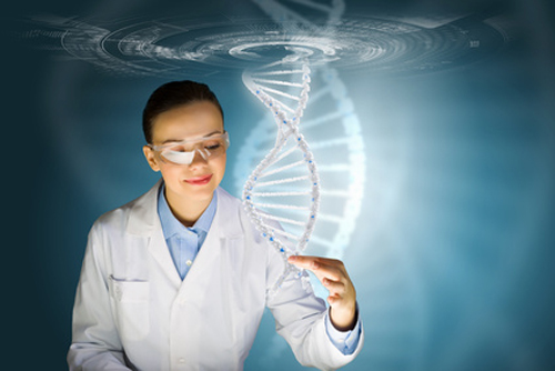 Woman scientists touching DNA
