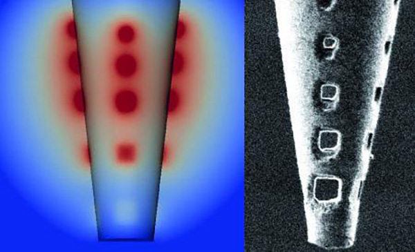 Model (left) and high-resolution image (right) of the nanoengineered micropipette with holes to distribute electrical current. [Daniel Schwarz/Max Planck Institute for Medical Research]