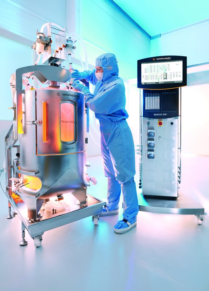 Sartorius Stedim Biotech (SSB) plans to create novel perfusion-enabled bioreactors by integrating into its BIOSTAT® STR large-scale single-use bioreactors (pictured above) Repligen's XCell™ ATF cell retention control technology (inset below).
