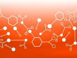 Abstract background with molecules, illustration