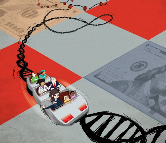 Car drives on gameboard DNA tracks