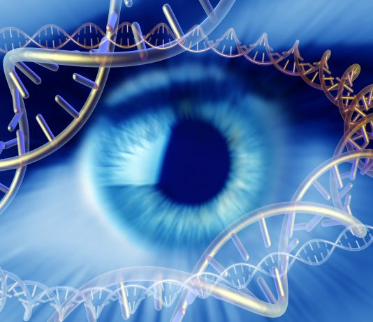 Human eye surrounded by molecules of DNA