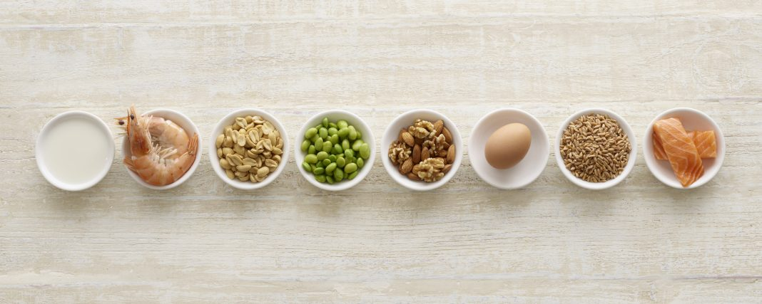 Allergenic foods in bowls