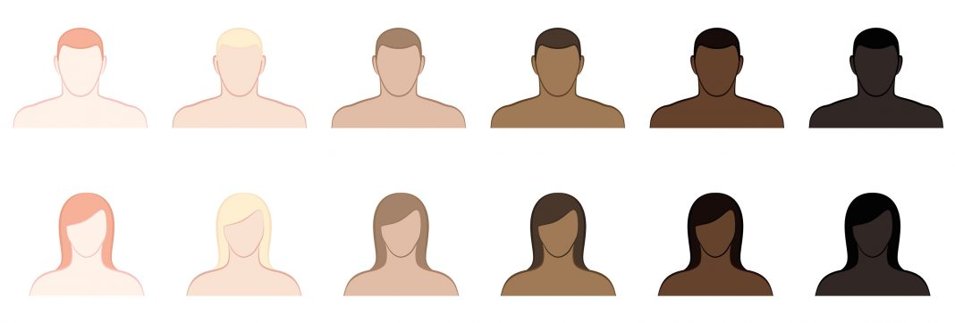 Complexion. Different skin tones and hair colors of men and women. Very fair, fair, medium, olive, brown and black. Isolated vector illustration on white background.