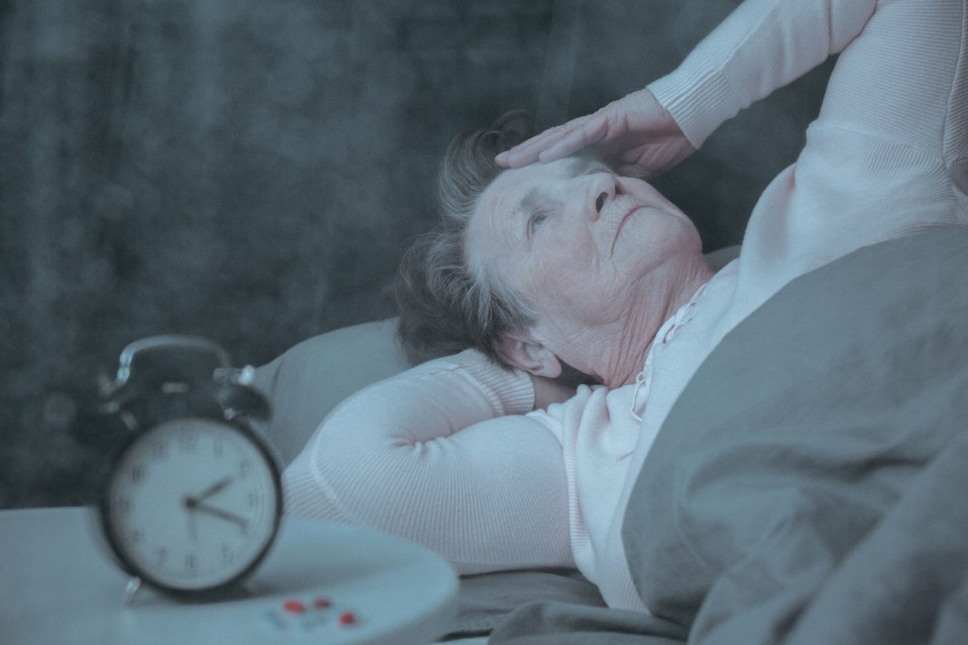 Elderly woman with a sleep disorder