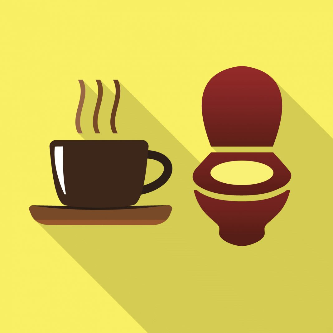 Coffee and toilet bowl flat icon
