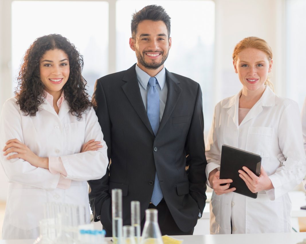 businessman and woman scientists in lab