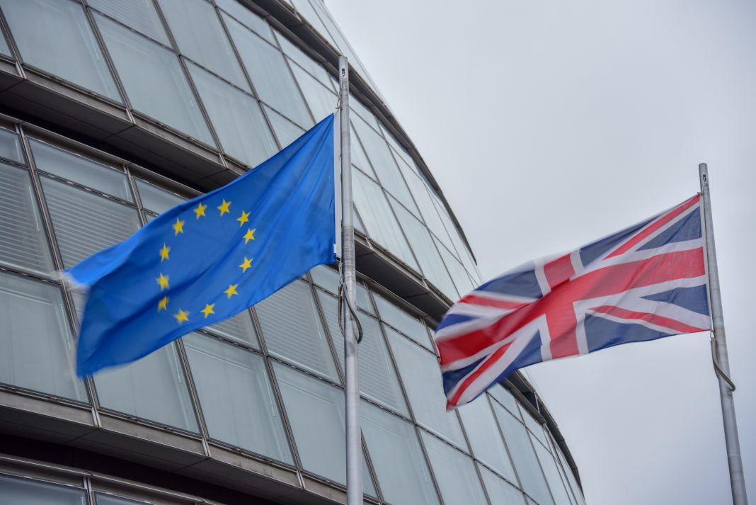 The European Union and the British flags