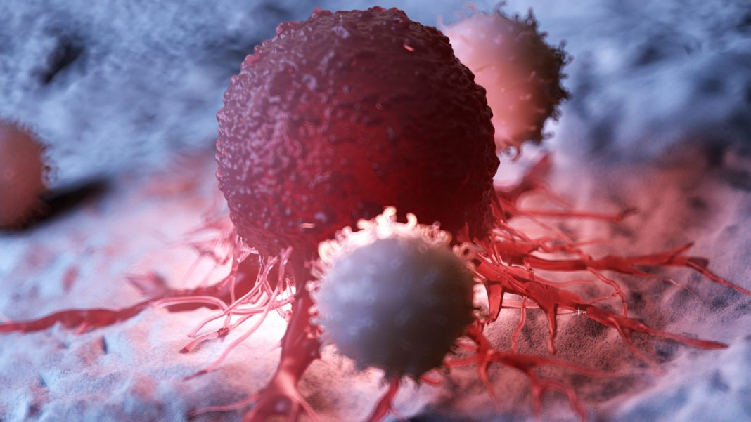 Illustration of white blood cells attacking a cancer cell