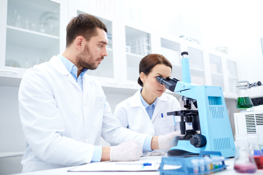 man and woman in lab