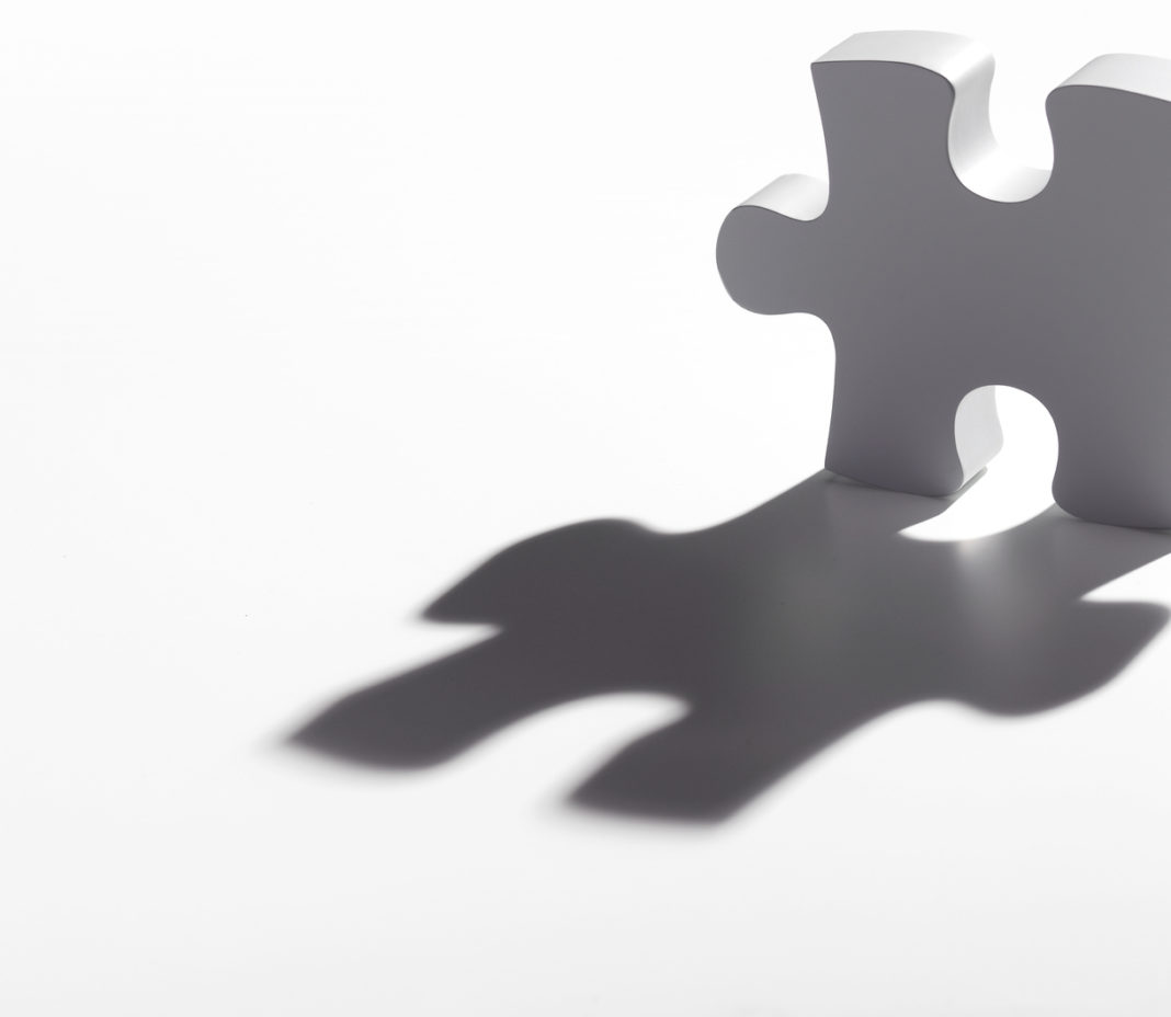 Last jigsaw piece with shadow