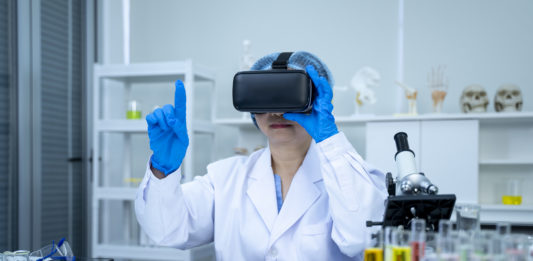 Medicine doctor working with Vr headset