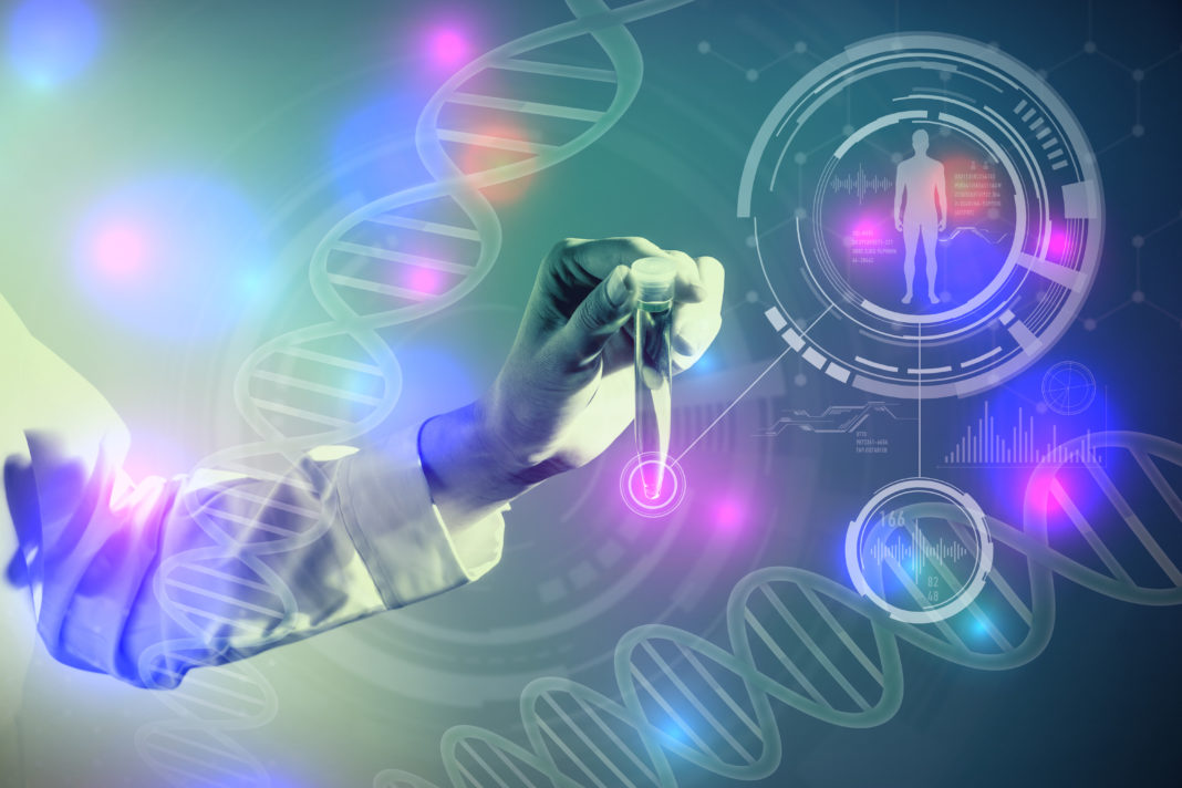 DNA and medical technology concept, biotechnology, gene recombination