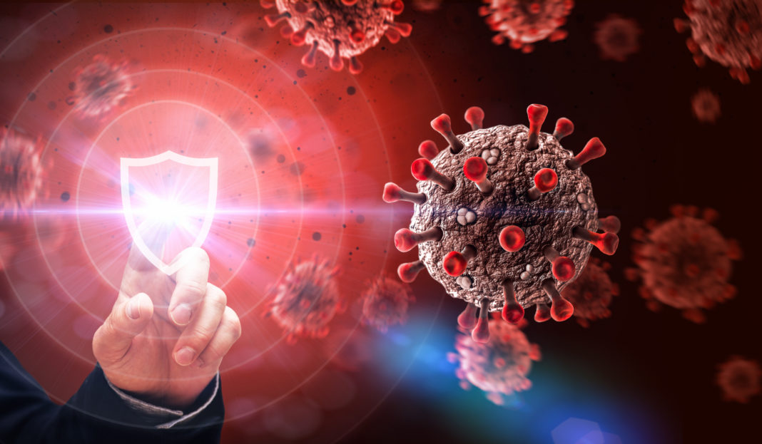 Protection Against COVID19 Virus Attack Abstract Concept