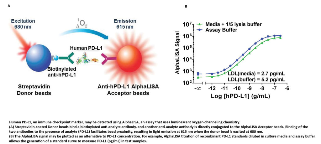 Human PD-L1, an immune checkpoint marker, may be detected using AlphaLISA, an assay that uses luminescent oxygen-channeling chemistry.