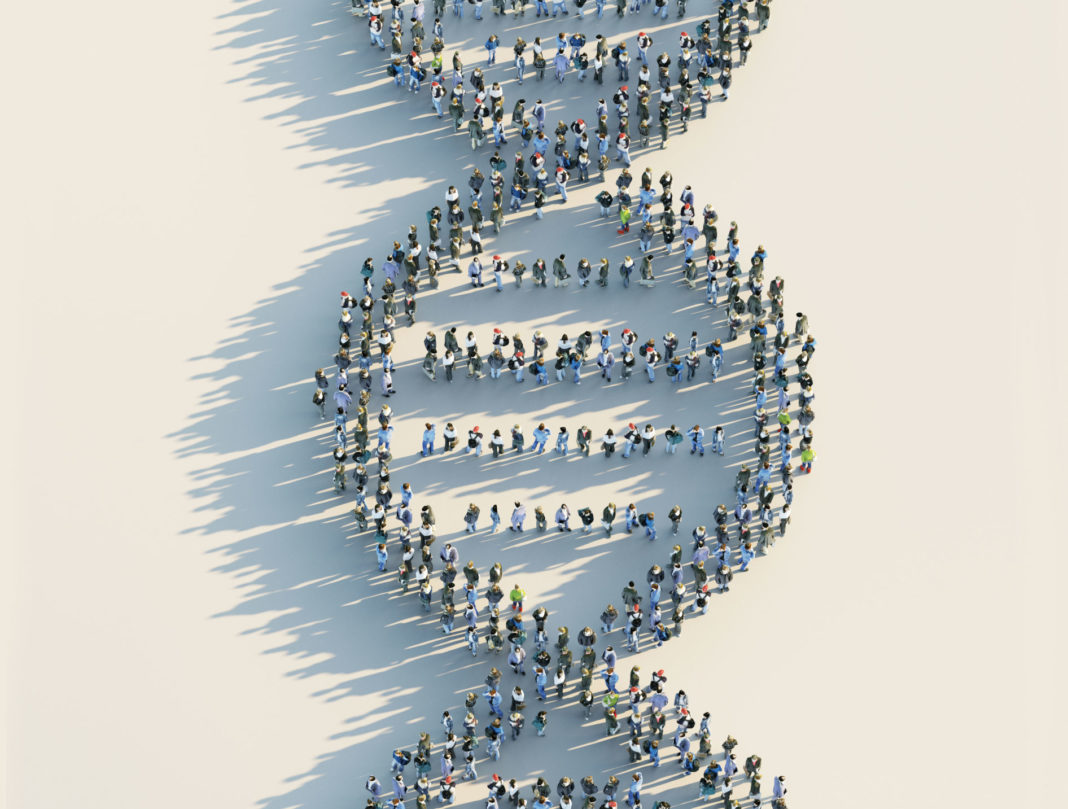 DNA shape made out of people