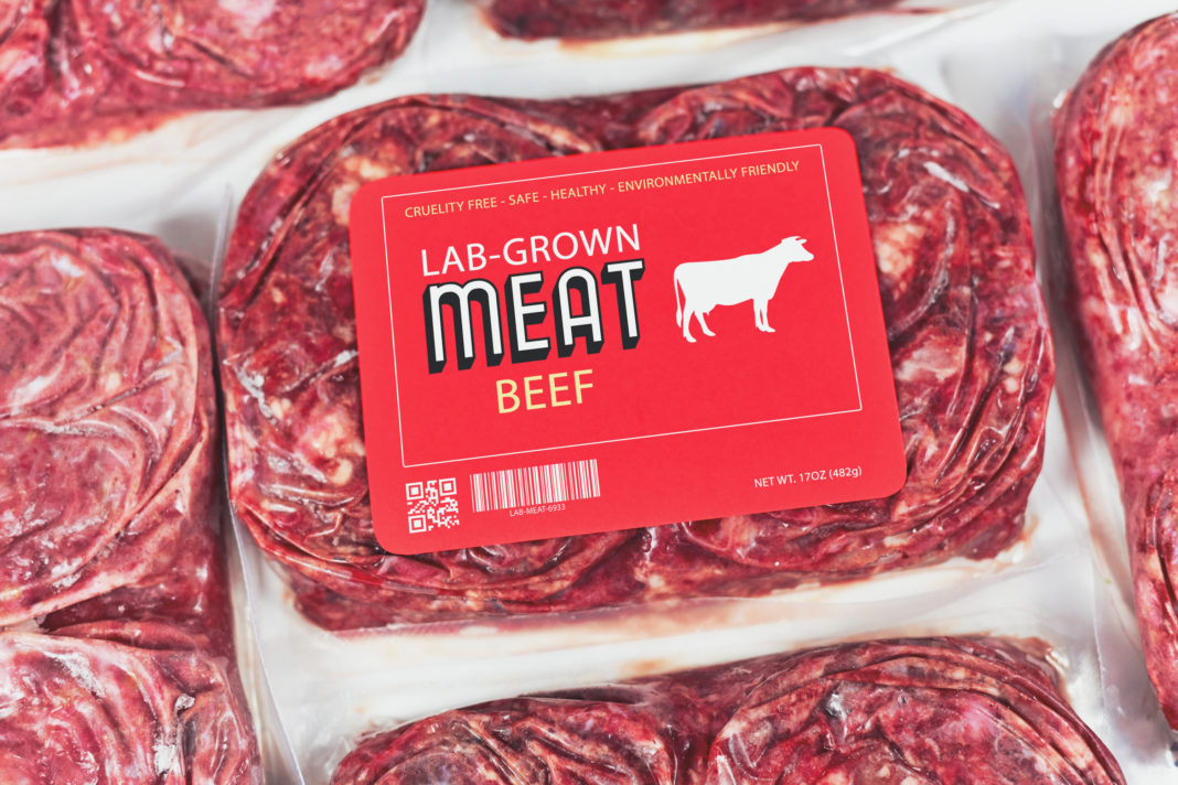 Lab grown cultured meat concept for artificial in vitro cell culture meat production with frozen packed raw meat with made up label