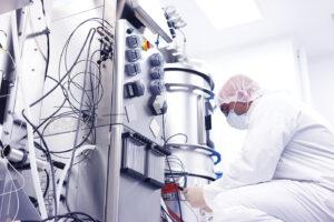 Scientist in a clean room laboratory