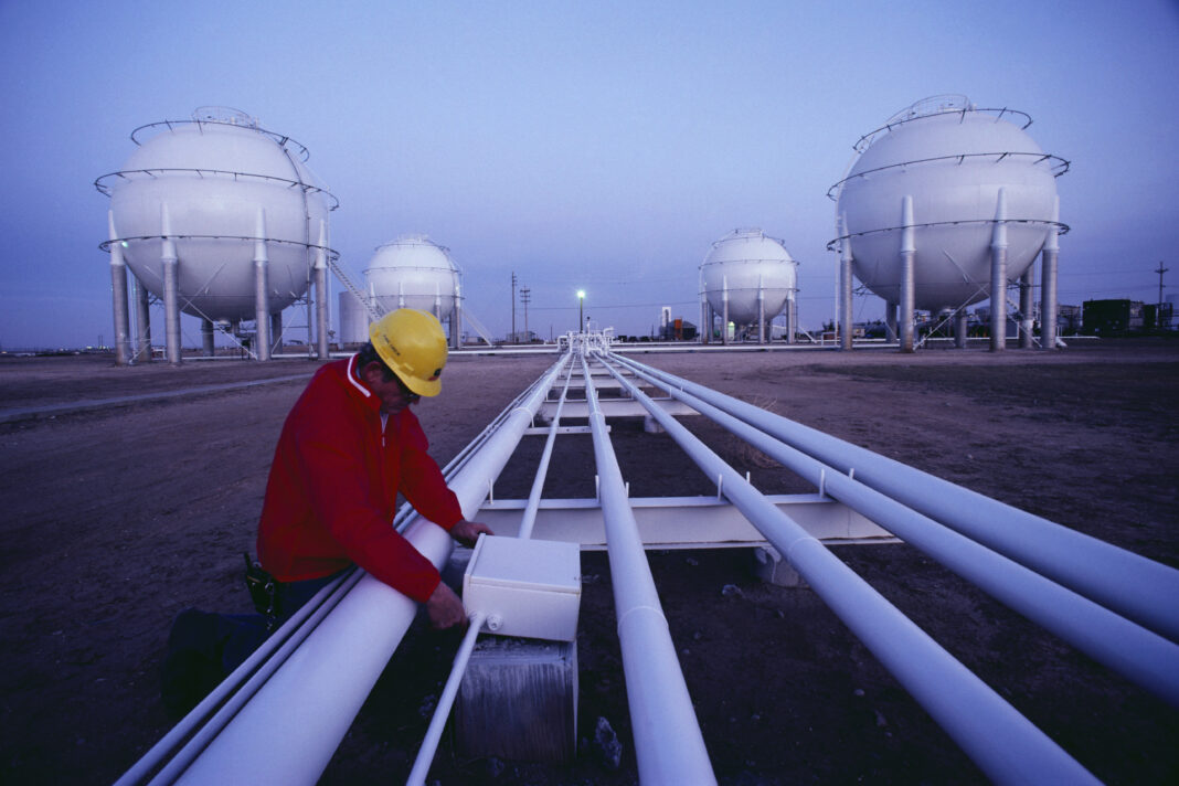 Pipes to Butane Gas Tanks at Chemical Plant