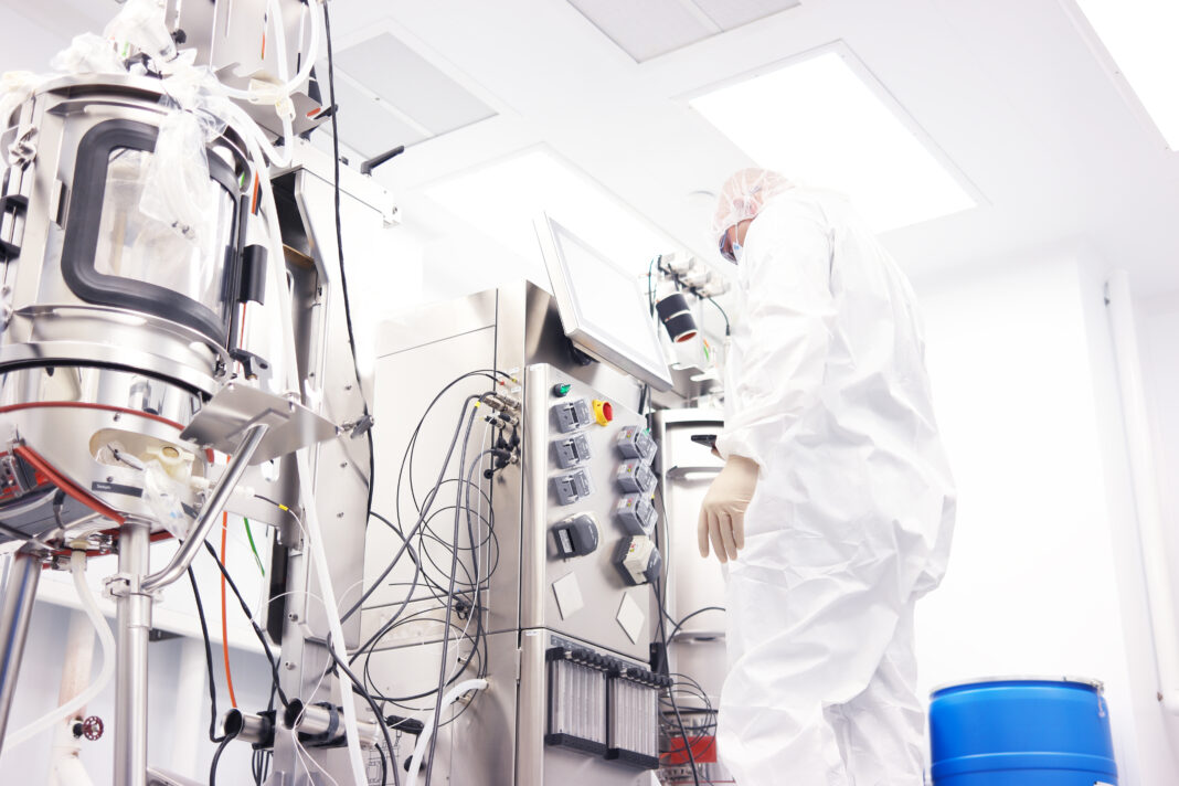Scientist in a clean room